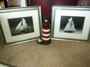Sail boat pictures and wooden lighthouse