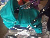 Girls silver cross pram with baby changing bag