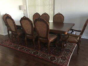 Solid Wood Formal Dinning Table 8 Chairs