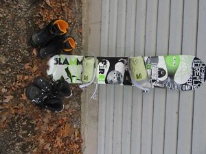 Snowboard and one pair of boots