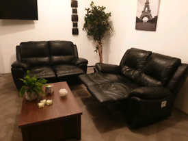 dfs black leather recliner 2x2 seater sofas