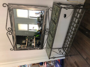 Custom metal and glass table and mirror