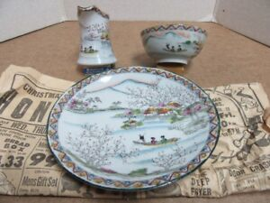 3PC TRADITIONAL SCENE JAPANESE HAND PAINTED TEA SET - SEE TEXT