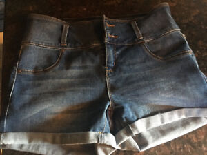 Women's jean shorts and blue jeans