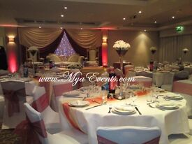 Stage Platform Hire £350 Wedding Stage Decor £299 Crystal Pillars Columns Hire £95 Chair decor 79p