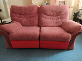 Red Two-seater Reclining Sofa / Couch with Wooden Accents