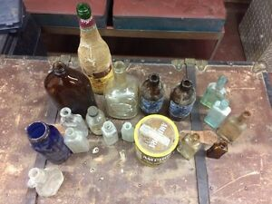 Vintage Glass bottles. Medicine. Alcohol.