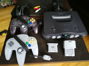N64 with 2 controllers, 3 games, memory card and rumble pack