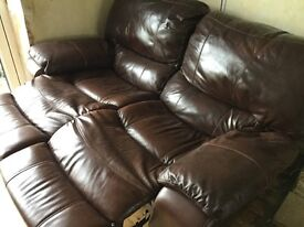 2 seater leather sofa - reclining