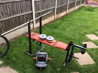 Fold up weight bench with weights