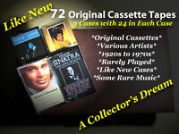 72 CASSETTES, 1920s-1970s, VARIOUS ARTISTS, LIKE NEW, IN CASES