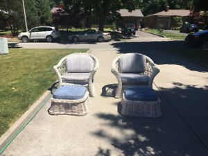 Wicker Chairs & Foot Stools for Sun Room or Living Room