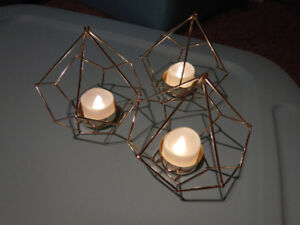 Geometric gold wire tealight candle holders  Wedding event decor