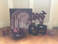 Next purple Moroccan accessories candle wall art picture vase
