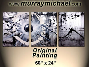 "Original 3-Piece Painting by Murray Michael - 60"" x 24"""