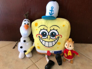 1 SPONGEBOB, OLAF AND ALVIN, TOY STUFFIES OR PLUSH