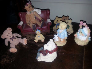 Collectible bears and sofa