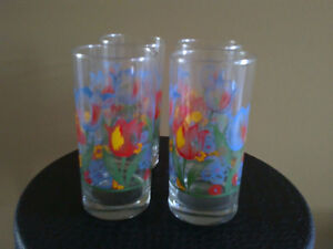 Brand new set of 4 tulip flowers printed glass drinking tumblers London Ontario image 1