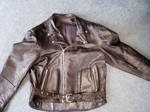 Leather Motorcycle Jacket with Built in Back Support