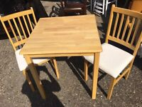 SOLID PINE STURDY TABLE AND 2 CHAIRS FREE DELIVERY