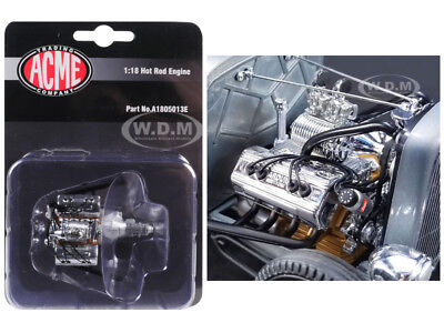 ENGINE & TRANSMISSION REPLICA CHROMED BLOWN ARDUN FLATHEAD 1/18 ACME A1805013E
