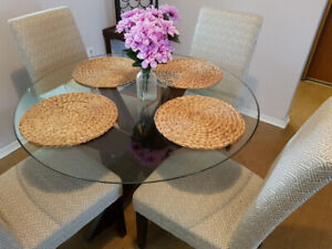 Glass Dining Room Table & 4 Chair Dining Set
