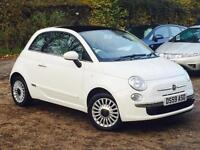 2010 Fiat 500 1.2 LOUNGE White Pan Roof only 62,294 MIles FSH only £30 Road Tax
