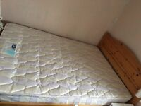 Wooden double bed frame + mattress