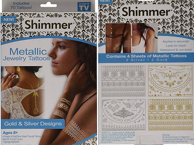 Shimmer metallic gold jewelry-inspired sticker temporary tattoo US Fast Shipping