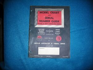 model chart and serial number guide 1957