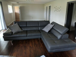 Genuine leather sectional made in canada