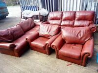 Set of 3 leather sofas delivery available
