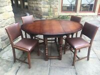 Solid Oak Drop Leaf Dining Table + 4 Chairs - CAN DELIVER