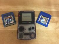 GAMEBOY colour console with Pokemon crystal and blue