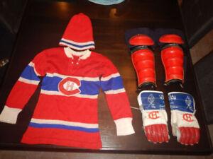 Vintage Canadiens De Montréal Chandail Tuque Gants Jambière 50's
