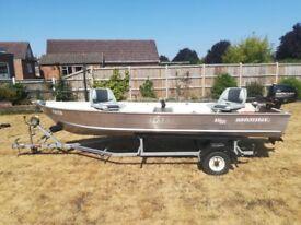 Almost new, 14ft aluminium boat, trailer, outboard etc etc