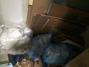 Moving boxes and assorted packing material