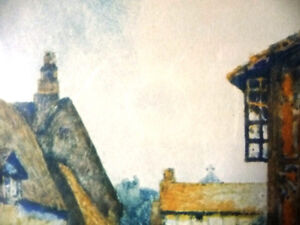 """Street Scene Lithograph by Rhys Jenkins """"Bunyans Cottage Elstow"""" Stratford Kitchener Area image 7"""