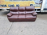 3 seater sofa in a 2 toned oxblood leather Hyde £199