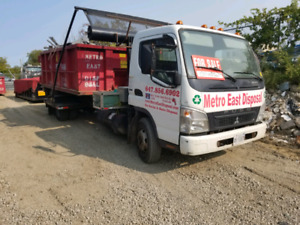 2008 mitsubishi fe180 fuso roll off truck with a self tarping