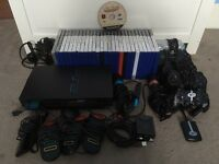 PlayStation 2, 28 games, 5 controllers, 2 mics etc