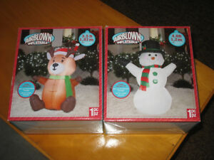 Xmas decorations inflatable snowman and reindeer
