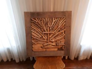 Framed driftwood art