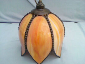 CHRISTOPHER WRAY - TRADITIONAL HANDMADE CEILING LAMPSHADE ORANGE/CREAM MARBLE EFFECT