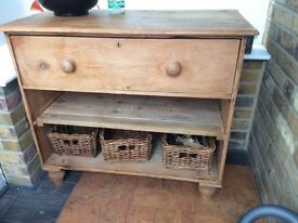 Antique pine chest with wicker baskets