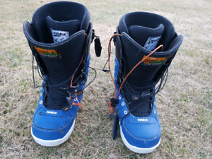 Thirty-two size 10 snowboard boots.