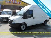 2013 13 FORD TRANSIT 350 LWB T350 125 BHP LWB HI TOP 2013 13 REG 1 LEASE OWNER I