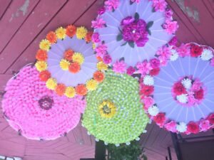 Five handmade decorated parasol