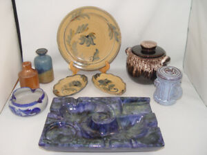 Vintage Pottery Lot Beauceware Dish Bottles Plates