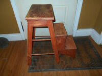 Antique Wood Fold Down Step Stool/ladder - primitive, country